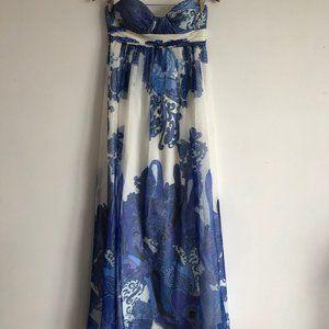 Aidan Strapless Blue & White Printed Prom Dress